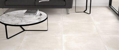 30x30 porcelain tile that looks like concrete floors in light beige color.