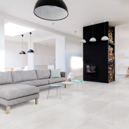 semi-polished light cream color porcelain tile that looks like industrial concrete floors