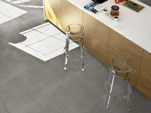 gray porcelain tile with the look of concrete floors