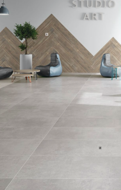 large product image studio light grey porcelain tile that looks like industrial concrete floors in light grey color