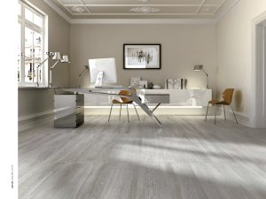 ash grey porcelain tile that looks like wood in large plank tile size