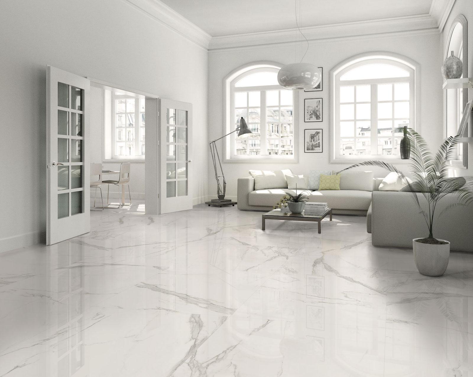 white floors with Estatuario large format polished tile