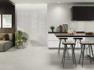 48x48 porcelain in light gray color in kitchen