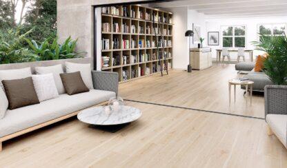 "10""x60"" porcelain floor tile that looks like hardwood floors in beige color"