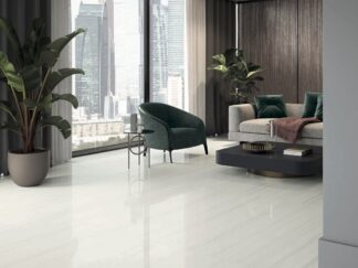 24x48 polished porcelain tile with the white marble look and linear veining in soft grey color