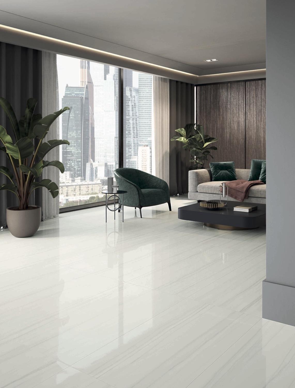 48x48 Italian Tile Eleanor De Lino, White Marble Laminate Flooring