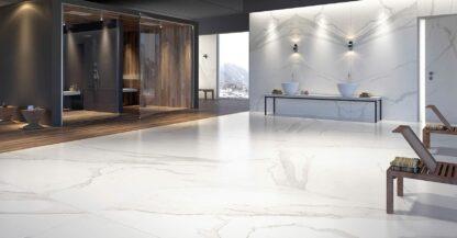 Beautiful white marble look floors with Albatros porcelain tile
