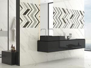 decorative wall tile in chevron style
