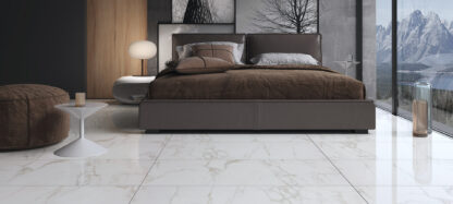white bedroom floors with golden dream marble.