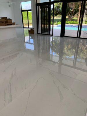 White tile baranello in living room