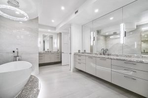 porcelain tile with the look of marble in the matte finish