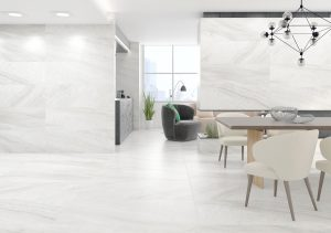 very light grey color porcelain tile with the look of limestone in the matte finish.