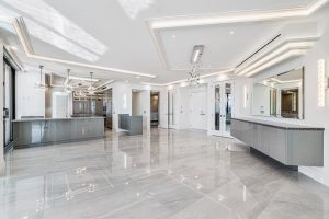 24x48 size porcelain tile with marble movements in the polished finish