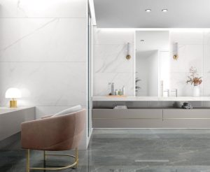 most liked white porcelain tile Baranello in the 30x60 large size