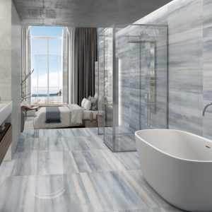 blue porcelain tile with modern design