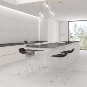 porcelain tile with the look of white marble and soft grey veining