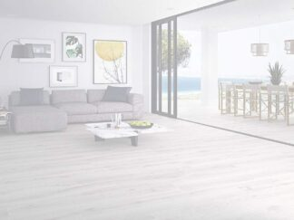 a living room scene with porcelain tile that looks like wood in the most white color