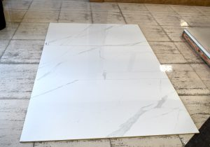 white marble look porcelain tile