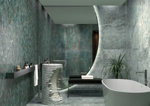 a modern bathroom picture with Taj Mahal Seagreen porcelain tile 24x48