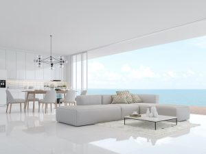 48X48 Snow White Porcelain interior picture of the plain white porcelain tile floors in beach condo