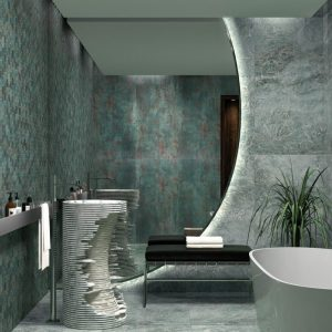 the picture of a modern bathroom with sea green tile on the walls