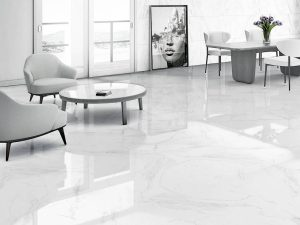 porcelain tile with the look of White Carrara marble