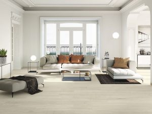 large porcelain tile with the look of light wood floors