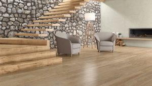large porcelain tile with the look of teak wood floors