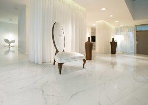 white porcelain tile with soft gray veining on maon floors