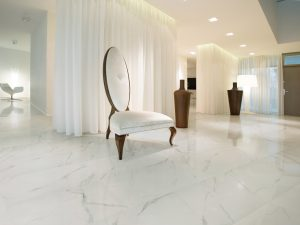 white porcelain tile with soft gray veining on maon floors