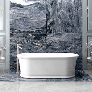 Blue porcelain that looks like granite on a bathroom wall