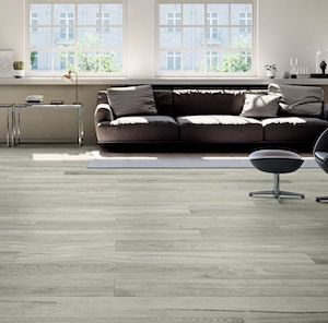 gray color wood look style tile floor with large format