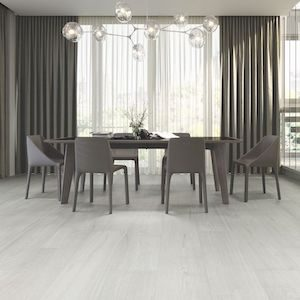 light gray color wood look style tile floor with large format
