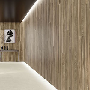 Dark wood style wood look tile wall application