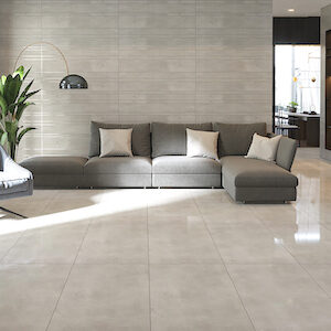 polished concrete style floors with porcelain tile in a living room