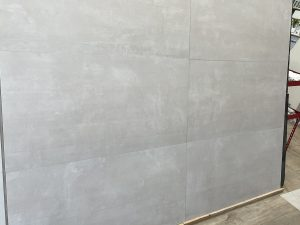 taupe color tile for modern interiors with concrete style tile in light gray color
