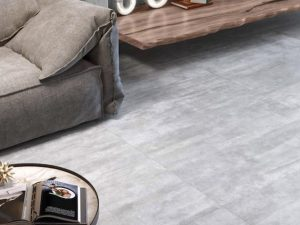 modern interiors with concrete style tile in light gray color