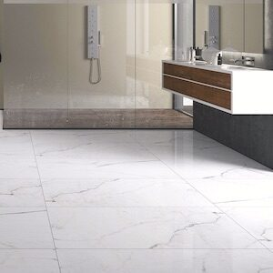 floors with warm white marble style tile