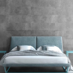 bedroom wall with concrete style tile in dark gray color