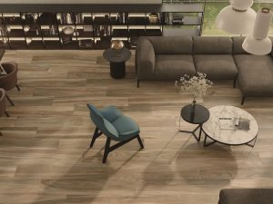 living and dining room scene with natural wood looking porcelain tile