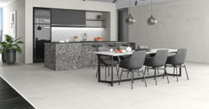 Lema White 36x36 Matte Finish tile with the look of concrete floors in very light beige color