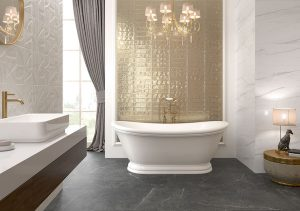 bathroom accent wall with real gold glazed subway tile
