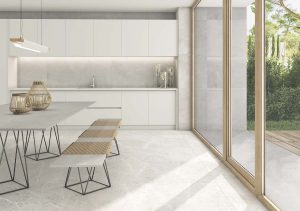 floors setting of the large format porcelain tile in light gray color with the look of the limestone