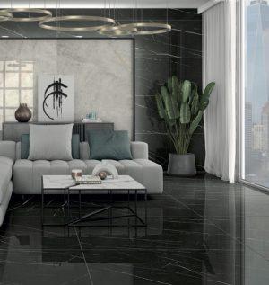 black porcelain tile floors