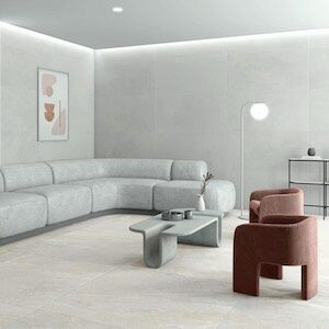 contemporary style room sceen with white color cement tiles on the wall