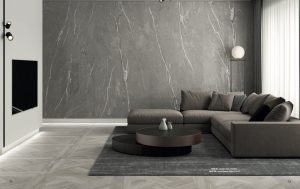 accent wall with gray porcelain slab the looks like limestone