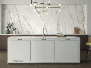 Kitchen backsplash with Porcelain Slab that looks like Calacatta marble