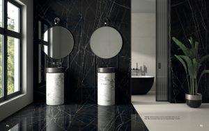 Bathroom Walls wit black Porcelain Slab with some white veining 48x103
