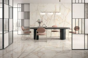 accent wall and floors with a Porcelain Slab that looks like onyx in gold tones and browns