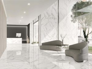 white porcelain tile with the look of Araescato Marble